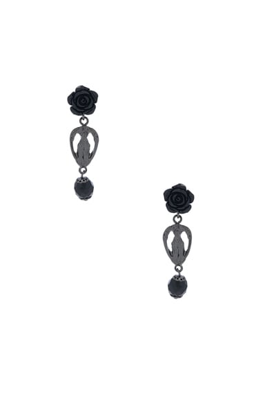 Givenchy Rosario Rose Earrings in Black & Black Resin