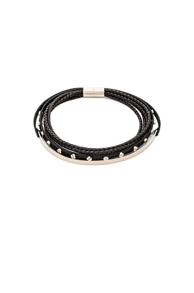 Givenchy Leather & Metal Choker in Black & Pale Gold
