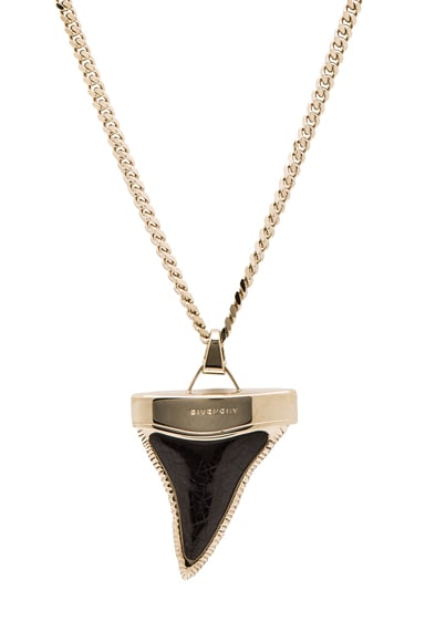 Large Shark Tooth Brass Necklace