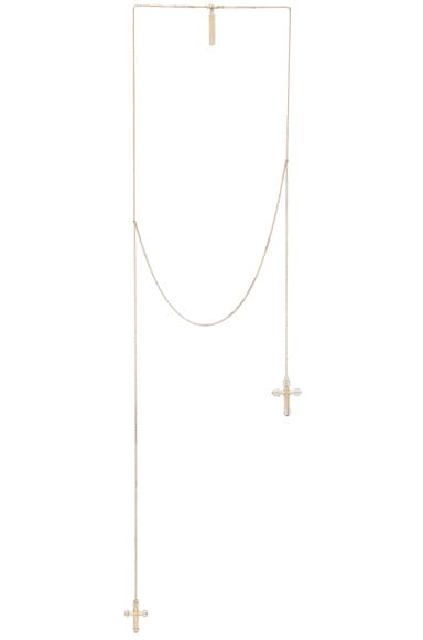 GIVENCHY Crosses Necklace in Metal & Pearls