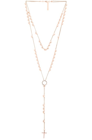 Givenchy Skull Rosary Necklace in Rose Gold