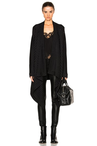 Givenchy Pinstripe Sweater Coat in Black & White