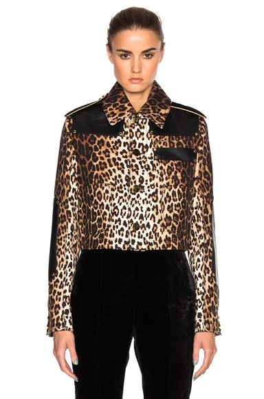 Givenchy Leopard Printed Grain de Poudre Jacket in Multi