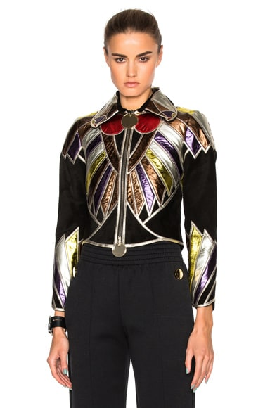Givenchy Suede Embroidered Patchwork Jacket in Multi