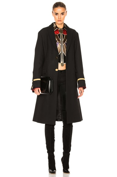 Givenchy Canvas Wool Coat in Black
