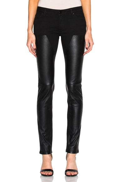 Leather Front Jeans
