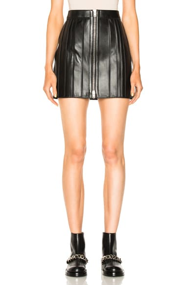 Zip Trim Leather Skirt
