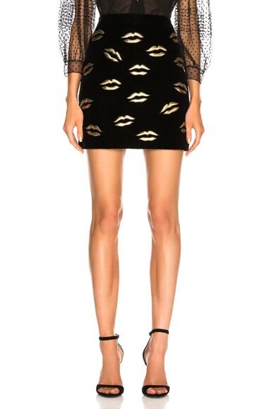 Lip Embroidered Velvet Skirt