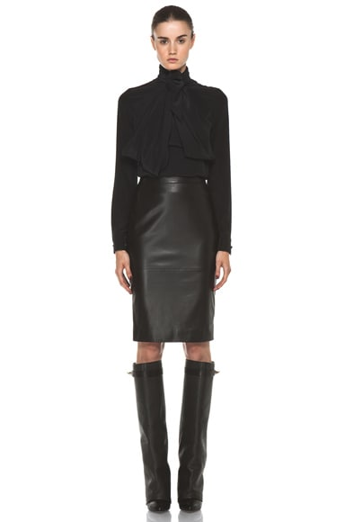Leather Front Pencil Skirt