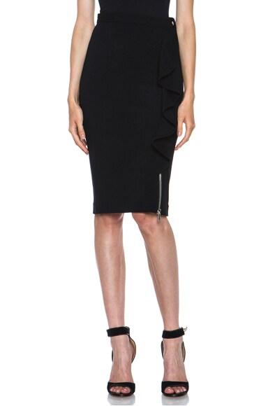 Zip Front Ruffle Detail Viscose Skirt