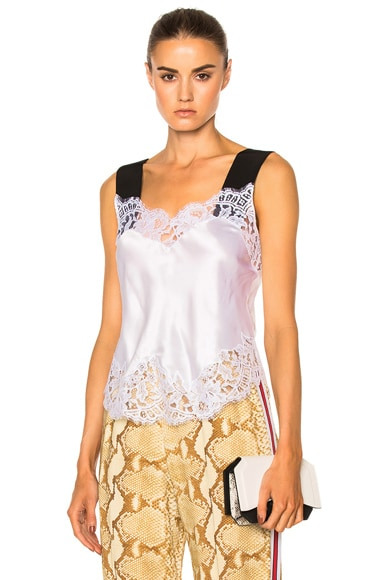 Givenchy Silk Satin Lace Tank in White