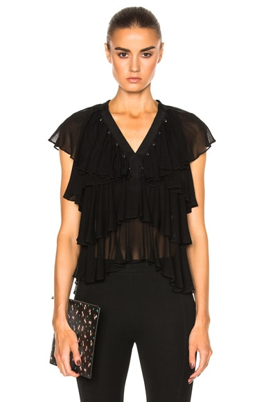 Givenchy Layered Ruffle Blouse in Black