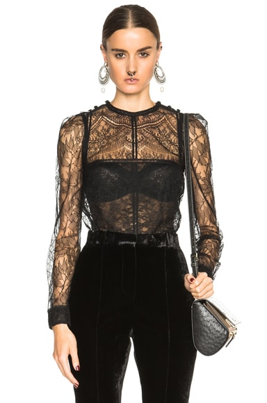 Givenchy Lace Patchwork Blouse in Black