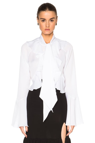 GIVENCHY Ruffle Blouse in White