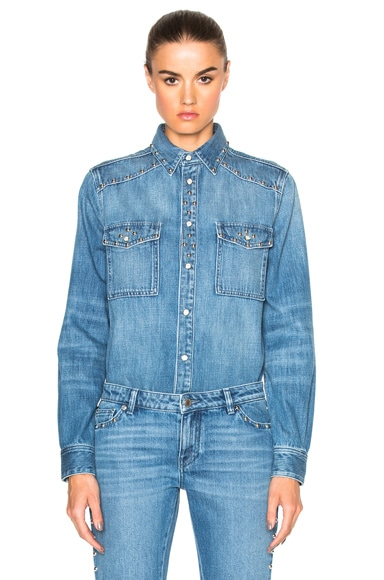 Givenchy Studded Denim Shirt in Light Blue