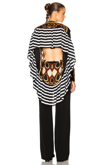 Givenchy Optical Print Silk Georgette Top in Multi