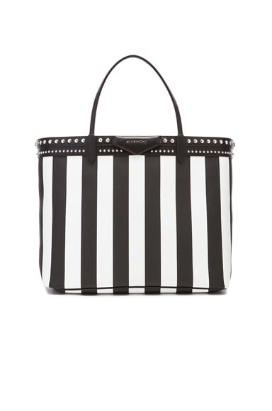 GIVENCHY Large Stripe Coated Canvas and Stud Tote in Black & White