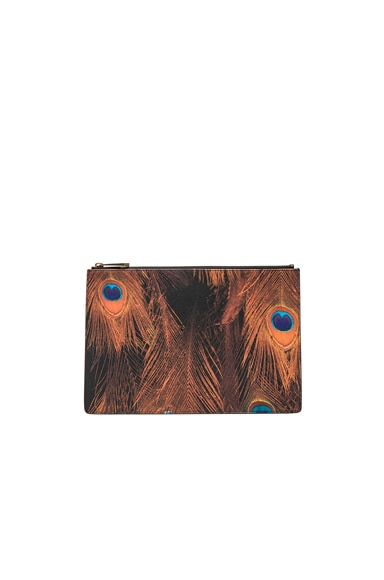 Givenchy Medium Peacock Feather Print Pouch in Multi