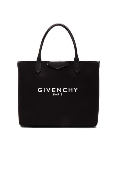Givenchy Large Logo Print Antigona Shopping Bag in Black