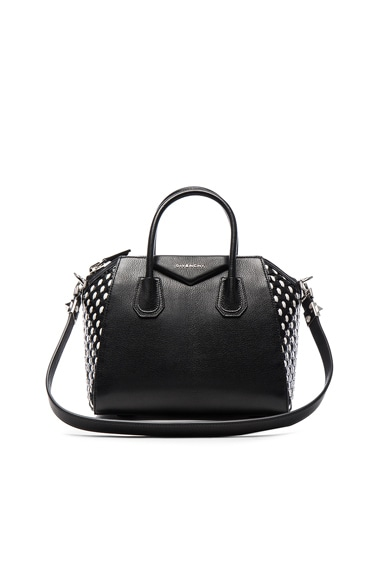 GIVENCHY Small Woven Leather Antigona in Black & White