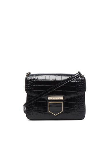 Givenchy Small Crocodile Embossed Leather Nobile in Black