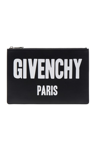 Givenchy Paris Printed Medium Pouch in Black