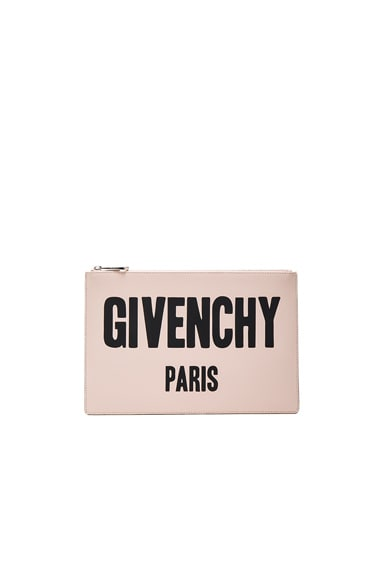 Givenchy Paris Printed Medium Pouch in Nude Pink