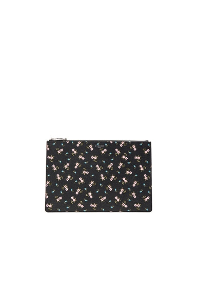 Givenchy Medium Pink Hibiscus Printed Pouch in Multicolor
