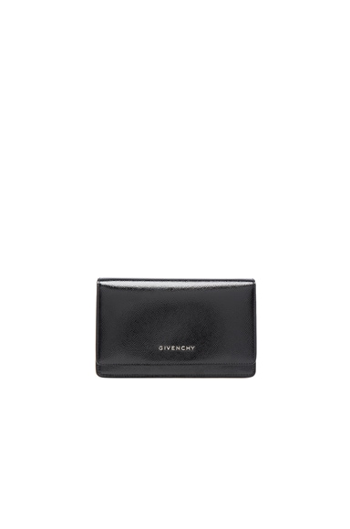Givenchy Chain Wallet Patent Leather Pandora in Black