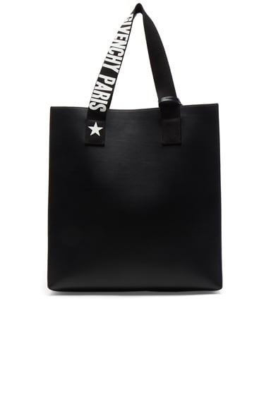 Givenchy Medium Logo Strap Coated Stargate Tote in Black