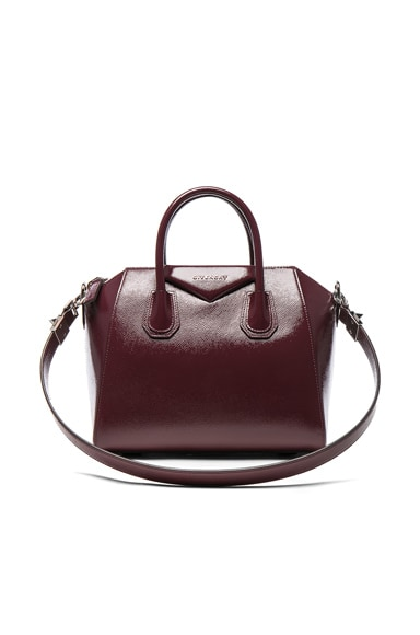 Givenchy Small Patent Leather Antigona in Burgundy