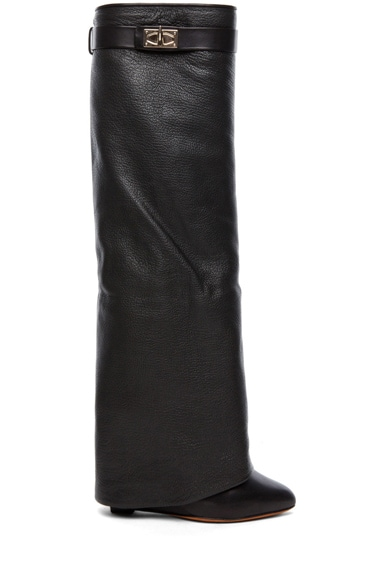 Shark Lock Fold Over Wedge Boots