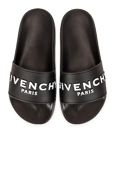 GIVENCHY Logo Polyurethane Slide Sandals in Black