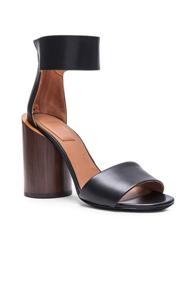 Polly Shiny Leather Sandals with Wood Heel
