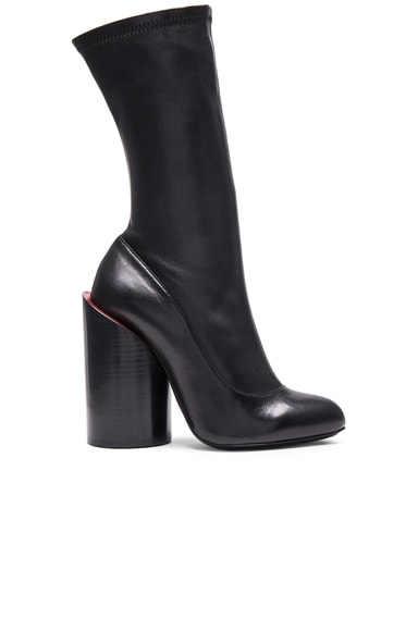 Givenchy Stretch Leather Runway Boots in Black & Red
