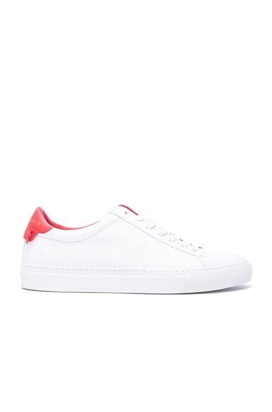 Givenchy Knots Leather Low Sneakers in White & Red