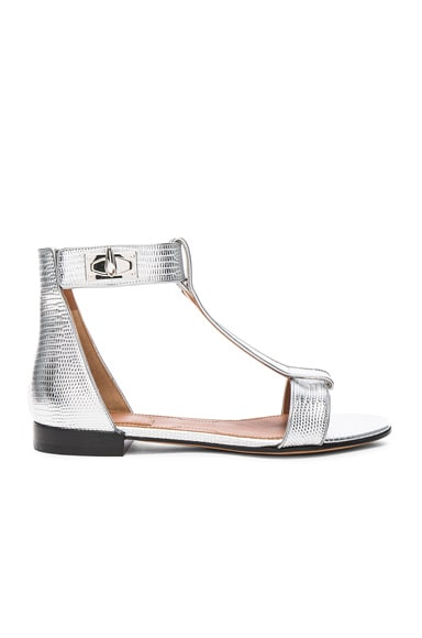 Givenchy Shark Flat Sandals in Silver