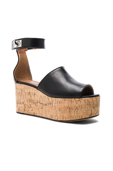 Shark Cork Platform Leather Sandals