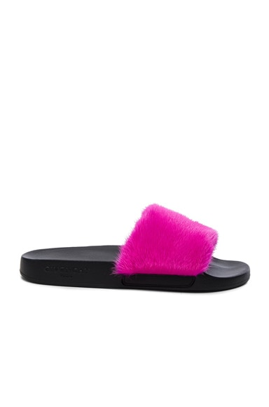 Givenchy Mink Fur Slides in Fuchsia
