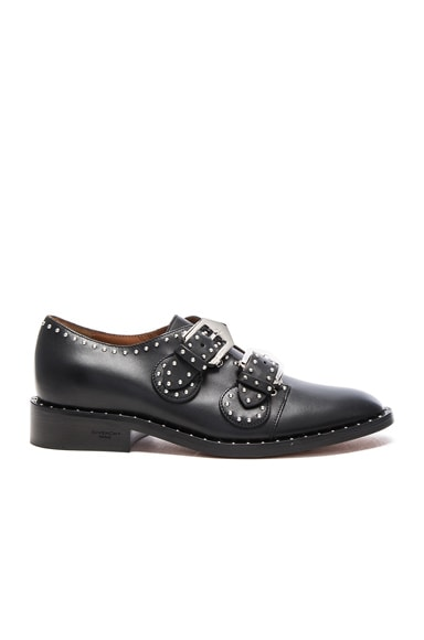 Givenchy Elegant Leather Monk Strap Oxfords in Black