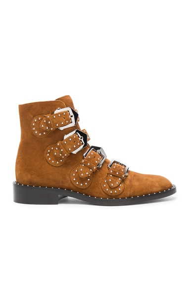 Givenchy Elegant Studded Suede Ankle Boots in Caramel