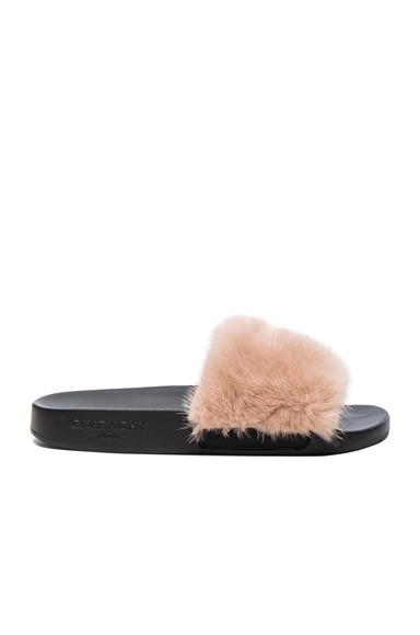 Givenchy Mink Fur Slides in Nude