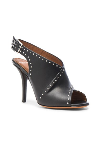 Studded Leather Open Toe Heels