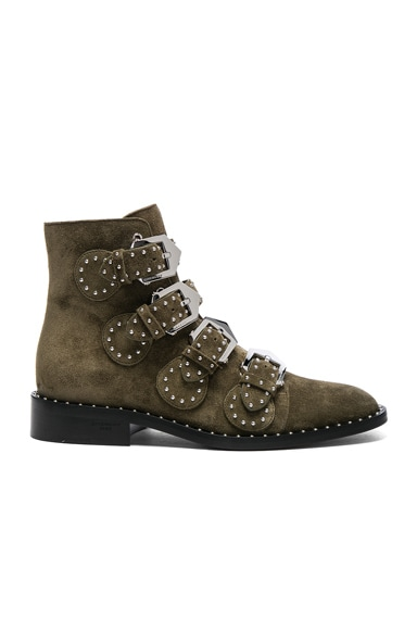 Givenchy Elegant Studded Suede Ankle Boots in Khaki