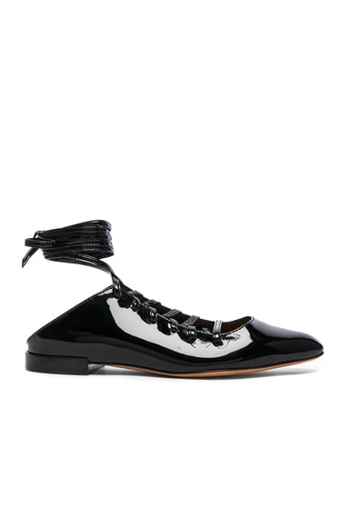 Givenchy Patent Leather Lace Up Mules in Black