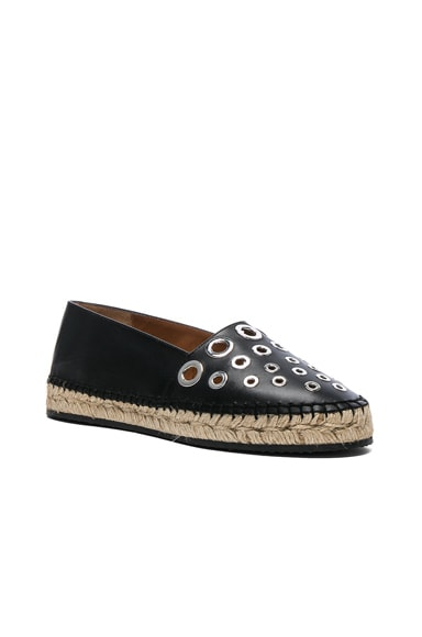 Studded Leather Flat Espadrilles