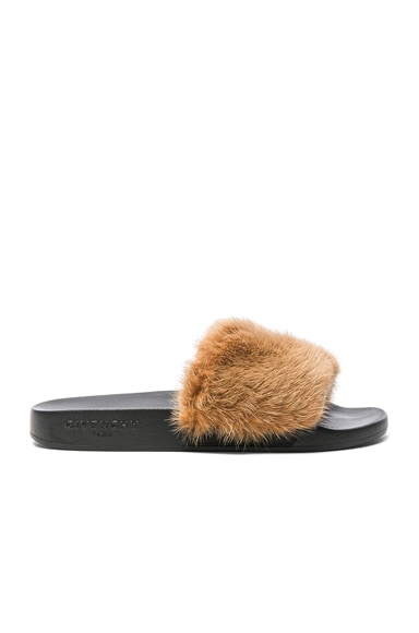 Givenchy Mink Fur Slides in Tan