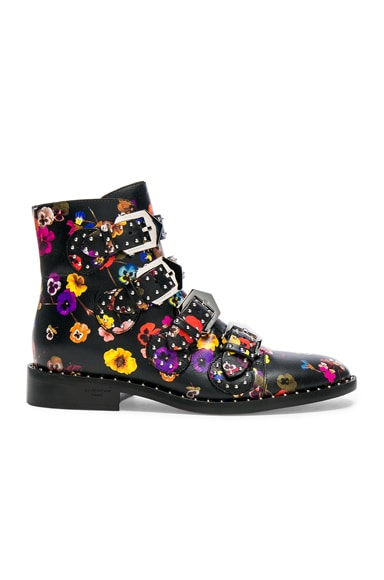 Night Pansies Elegant Studded Leather Ankle Boots