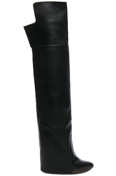 Leather Newton Over The Knee Wedge Boots