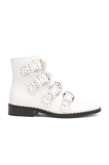Leather Elegant Studded Ankle Boots